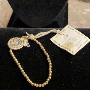 24 Karat Plated evil eye bracelet with CZ crystals